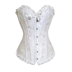 Muka White Tapestry Brocade Fashion Corset With Lace, Halloween Costume