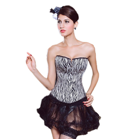 Muka Women's Zebra Print Fashion Party Corset, Christmas Gift Idea