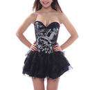 Muka Womens Black Corset Top Waist Cincher Bustier Lingerie Halloween Costume