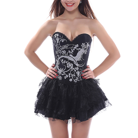 Muka Women's Everyday Black Phoenix Elastic Fashion Corset Bustier, Gift Idea
