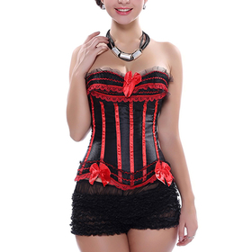 Muka Women's Red Black Fashion Corset Bustier With Lace Trim Lingerie, Gift Idea