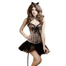 Muka Women's Leopard Print Party Corset Bustier, Halloween Full Costume