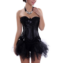 Muka Black Halloween Costume Corset & Tutu Set Burlesque Party Fashion Bustier