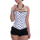 Muka Black Polka Dot Burlesque Corset Bustier Lingerie Top Halloween Costume