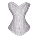Muka White Floral Tapestry Steel Boned Corset, Halloween Costume
