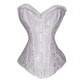 Muka White Floral Tapestry Steel Boned Corset, Christmas Gift Idea
