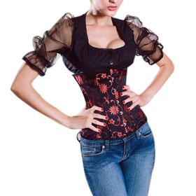 Muka Black Floral Brocade Underbust Corset, Waist Cincher, Halloween Costumes