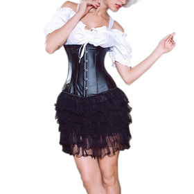 Muka Black Faux Leather Fetish Victorian Underbust Corset, Waist Cincher, Gift Idea