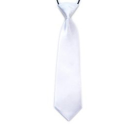 "(Price/10 Pcs)TopTie Kid's Solid Color White Necktie 10"" Youth Neck Tie"
