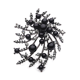 Aspire Black Floral Brooch Pin, Halloween Decorations