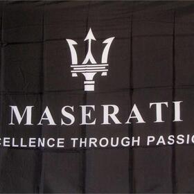 NEOPlex Maserati Black Automotive Logo 3'x 5' Flag