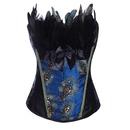 Muka Black Peacock Fashion Corset Top Bustier, Burlesque Costume Corset