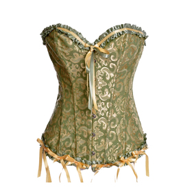 Muka Green & Gold Burlesque Zipper Fashion Corset Top, Gift Ideas
