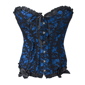 Muka Strapless Blue Lace Overbust Fashion Corset with Bow