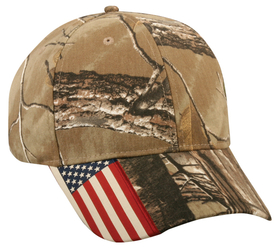 Outdoor Cap CWF-305 Camo with USA Flag Accent on Visor