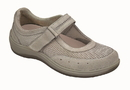 Orthofeet 853 Chattanooga, Women's Breathable Mesh Mary Jane - Two-Way-Strap, Gray