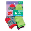 Hanes 747-6 Girls' Fashion ComfortBlendAnkle Socks 6-Pack