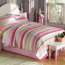 PEM America QS6091FQ-2300 Annas Ruffle Pink Full / Queen Quilt with 2 Pillow Shams