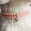 GOGO Double Strand Adjustable Pearl Pet Necklace Collar with Pendant