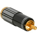 Gold RCA Super Plug Connector Black 6.3 mm Cable Entry