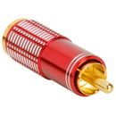 Gold RCA Super Plug Connector Red 8.3 mm Cable Entry