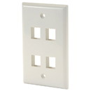 Wired Home KWHF9 Keystone Wall Plate Single Gang 4-Port Wht