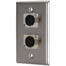 Pro Co WP1013 (2) XLR Female Stainless Steel Metal Wallplate Single Gang