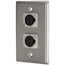 Pro Co WP1043 (2) XLR Female Stainless Steel Metal Wallplate Single Gang