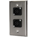 Pro Co WP1026 (2) XLR Female Stainless Steel Metal Wallplate Single Gang