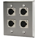 Pro Co WP2011 (4) XLR Female Stainless Steel Metal Wallplate Dual Gang
