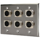Pro Co WP3002 (6) XLR Female Stainless Steel Metal Wallplate Triple Gang