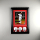 Perfect Cases Wall Mounted Triple Baseball 8 x 10 Display Case