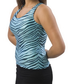 Pizzazz Zebra Glitter Racer Back Top, Adult