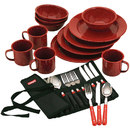 Coleman 2000003463 Dining Kit - 24 Piece Red Speckle Enamel & Cutlery