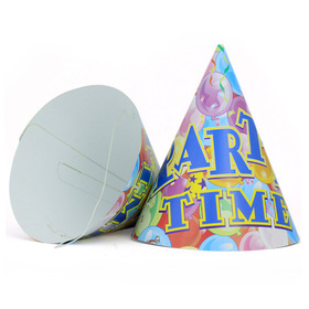 Aspire PARTY TIME Cone Hats, Colorful Balloons Paper Hat, Party Accessory, Price/24 Pcs