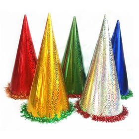 Aspire Party Cone Hats, Mixed Metallic Party Paper Hat With Foil Bottom Trim, Party Accessory, Price/Dozen