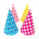 Aspire Polka Dot Party Cone Hats, Mixed Colors Paper Hat, Party Accessory