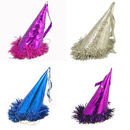 Aspire Fastigiate Metallic Party Cone Hats, Paper Hat With Foil Bottom Trim, Party Accessory