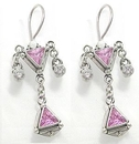 Painful Pleasures BAER013-pair Trinity Pink Jewel Dangle Sterling Silver Bali Earrings