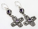 Painful Pleasures BAER079-pair Tear Drop Indonesian with Dangle Cross EARRINGS - Price per 2