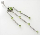 """Painful Pleasures BAN002 14g 7/16"""" Triple Dangle Sterling Silver Bali Belly Button Ring"""