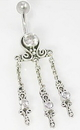 """Painful Pleasures BAN012 14g 3/8"""" Bali Sterling Silver Raindrop Belly Button Ring"""
