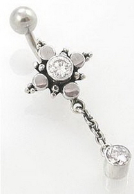 "14G 3/8"" Star Bali Sterling Silver Navel Belly Button Ring"