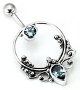 """Painful Pleasures BAN056 14g 7/16"""" Bali FRAME Sterling Silver Navel Belly Jewelry"""