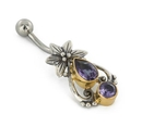 Painful Pleasures BAN100 14g 7/16'' Bali Flower & Tear Drop Belly Button Ring