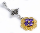 Painful Pleasures BAN106 Flower n Flower GOLD N SILVER Bali Belly Wholesale Body Jewelry 14g 7/16