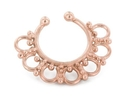 Painful Pleasures BAN122 Rose Gold Plated, Sterling Silver Detailed Septum Ring or Earring - Clip On