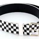 Painful Pleasures belt006-checker Black/White Checkered 80's Punk Genuine Leather Belt