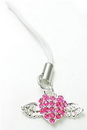 Painful Pleasures CEL010 Flying Heart Jeweled Cell Phone Charms