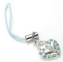 Painful Pleasures CEL024 Aqua KET HEART Wholesale Cell Phone Charms